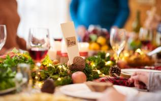 christmas menu on decorated table