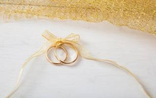 wedding rings on stationery
